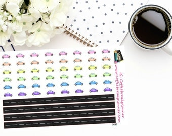 Planner Stickers |Car and Road Stickers| Road Trip Stickers|For use in a wide variety of planners and journals|D049