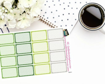 Planner Stickers|Printed Glitter Texture Half Boxes|St. Patrick's Day Green|Green Half Boxes|For use in various planners and journals|B022V