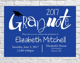 Class of 2017, Graduation Open House Invitation, Graduation Announcement, Chevron Invitation, Graduation Party, High School, College