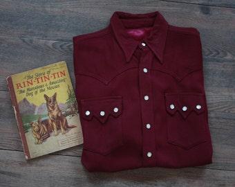 Vintage 1940's Western Shirt // 40s Gabardine Maroon Shirt // Rockabilly Rodeo Shirt // DIVINE