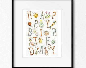Happy Birthday Art Print 8x10