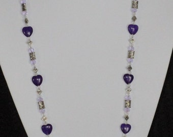 Purple hearts necklace