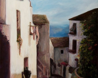 A Walk In The Streets Of Spain - Print on Canvas, Colorful Painting Print