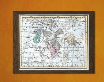 FINE ART REPRODUCTION Celestial Map 1822 Astrology  Art Astronomy  Astrological Star Map Celestial Poster