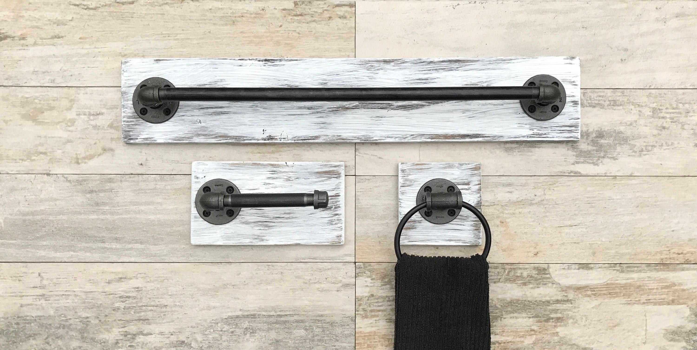 Pipe Bath Fixtures Etsy   Rustic Bathroom Hardware Sets