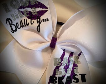 Beauty and Beast BASE~Cheer BOW with Text Glitter Cheer Bow Cheer Base Cheer Gift Ask me to design something specific for you today!!