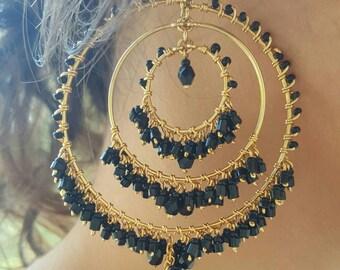 Gold Hoops,Black Hoops,Black Chandelier Earrings,Chandelier Earrings,Chandelier Hoops,Earrings,,Bohemian Jewelry,Bohemian Earrings,Earrings