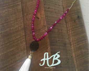 Purple/pink tassel necklace