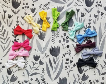 Hand-tied SOLIDS {Ava} bows/mini {Ava}/piggie tail sets- 13 colors available//bows//hair accessories//baby/toddler//fabric bows