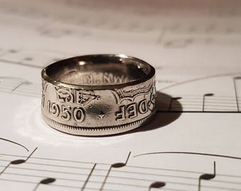 Coin Ring Half Crown  - Hand Crafted 1950 Size U 1/2