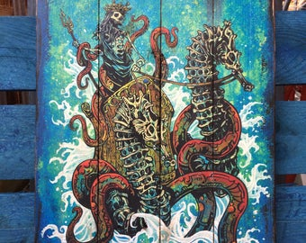 Neptune by David Lozeau Official wood art Day of the Dead Mythical God style