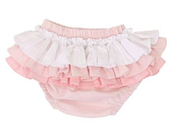 Pink Gradient Ruffled Baby Bloomer | Pink, White, Blush, Light Pink, Ruffled, Girly, Baby Girl Diaper Cover
