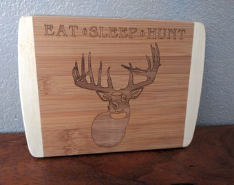 Valentine's Day Gift, Gift for Him,  Small Bamboo Cutting board, Deer Hunting Cutting board, Eat Sleep Hunt, Deer Hunting
