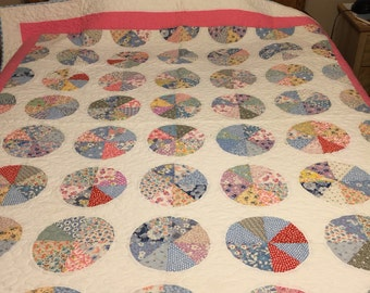 Vintage feed sack quilt top newly quilted