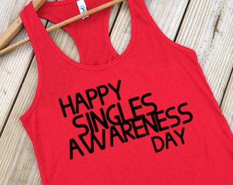 Valentines Day Shirt, Womens Tanks, Red Shirt, Funny Valentine, Shirt for Singles, Funny Tank Tops, Red Shirts, Anti Valentines, S-XXL ID20M