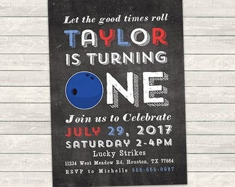 bowling birthday invitation, bowling ball, turning one or two, chalkboard style, printed or printable invites