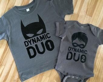 Brother Shirts | Dynamic Duo 1 Batman Shirt or Bodysuit | Dynamic Duo 2 Robin Shirt or Bodysuit | Big Brother, Little Brother Sibling Shirt