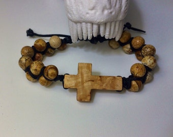 Tibetan-style bracelet with a cross made of Karelian Birch and sand stones Jasper