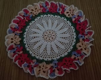 Pansy hand crocheted doilie