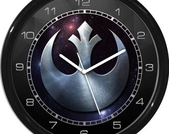 "Star Wars Hero Rebel Silver Symbol 10"" Wall Clock Personalized Boys Room Decor Wall Art Gift"