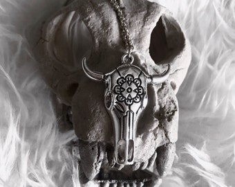 Western Style Floral Bull Skull Necklace