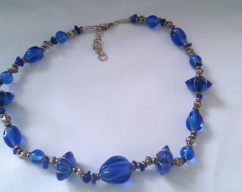 blue glass and metal bead necklace