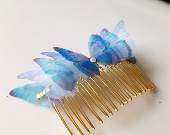 Butterfly blue butterfly wedding party evening hair comb
