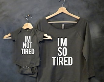 I'm So Tired + I'm Not Tired Shirt Package, Gift for New Mom, Tired As a Mother, Baby shower gift, Christmas Gift Wife, Mama Bear, Baby Bear