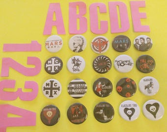 PINBACK BUTTONS! thirty seconds to mars MCRX my chemical romance alkaline trio the Cure 30stm goth rock Jared Leto