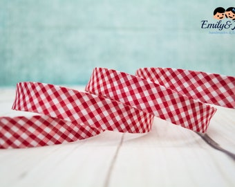 bias tape plaid red/white, bias binding