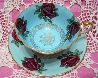 Beautiful Vintage PARAGON ROSES Mismatched-Cup & Saucer.