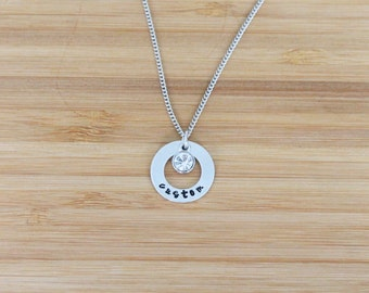 hand stamped necklace | small washer custom + birthstone