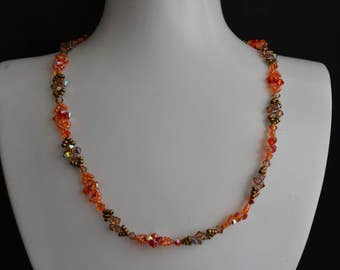 Swarovski crystal necklace fireopal ab and smoked topaz ab.