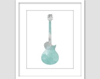 Guitar Music Watercolor Art Print, Gray & Blue Musical Instrument Printable Wall Art, Instant Digital Download