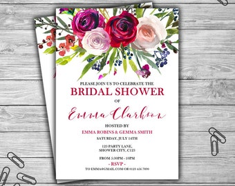 Custom Bridal Shower Invitation - Watercolor - Floral - PRINTABLE - INSTANT DOWNLOAD - Purple - Pink - Red - Bridal Shower Invitation - L43