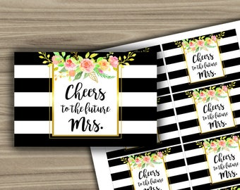 Mini Champagne Labels - Bridal Shower - Black and White - Floral - Gold - PRINTABLE - INSTANT DOWNLOAD - Bachelorette Party - L49