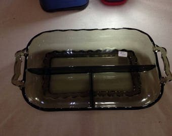 Midcentury modern green separated glass serving tray
