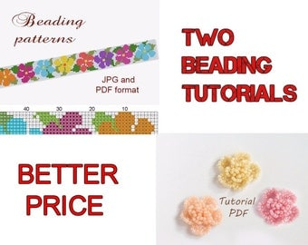 Flower Pattern/Seed Bead Pattern/Beaded Flowers/Peyote Pattern/Peyote Bracelet/Beading Pattern/Beading Tutorial/Jewelry Pattern/Rose Pattern