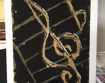 Treble clef metallics print