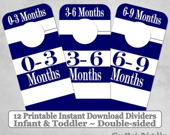 Printable 12 Baby Toddler Double-Sided Closet Dividers Navy White Wide Stripes Sizes NB-6 - DIY Instant Download - Baby Shower Gift Nursery