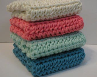 "Handmade Crochet Cotton Dishcloths or Washcloths 4-Pk, Cream, Conch Peach, Pastel Blue, Azure Blue, About 7-1/2"" (Dishcloths5705)"