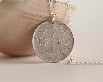 China Coin Necklace in Silver Colour. 20 Cents, Chinese Coin.
