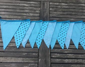 fabric bunting mixed bleu, banner, pokadot flag,