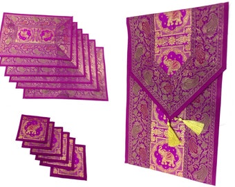 Purple Color Indian Handmade Silk Brocade Table Runner with Placemat 6 and Coaster 6 in 16x62 Inch Size
