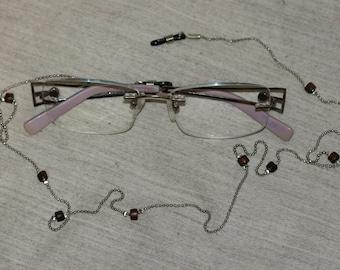 Eyeglasses Chain, Silver Color Eyeglasses Chain, Handmade Eyeglasses Wood Beads Chain, Delicate Chain ,