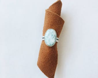 Oval Dominican Larimar and Sterling Silver Ring