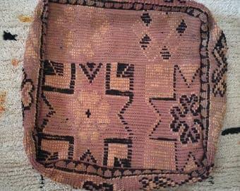 """Vintage Moroccan Pouf, Moroccan Boujaad Pouf, Moroccan Floor Pouf, Moroccan Floor Cushion, Kilim Pouf, Pouf Cover 24""""x24""""x8"""""""
