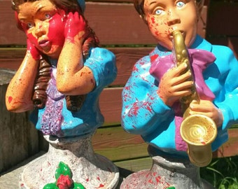 Hand Painted Saxophone Playing Boy and Girl One of a Kind Busts