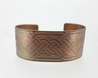 Copper Cuff~Etched Celtic Cuff~Etched Copper Knot Cuff~Knotted Bracelet~Tribal Band Cuff~Copper Celtic Knot Cuff~OOAK Statement Bracelet