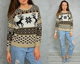 Norwegian sweater reindeer snowflakes Fair Isle Nordic pullover Vintage Beige cream Geometric Ski M Medium size
